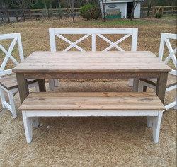 X Backed bench and chair set