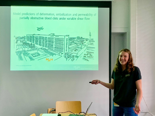 Gallaway giving a Journal Club presentation for her internship at Hannover Medical School.