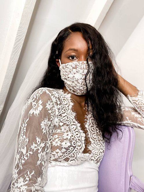 WHITE BEADED FLORAL EMBROIDERED LACE FACE MASK