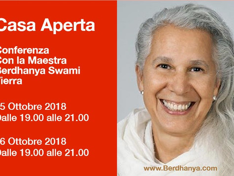 Ritiro con Maestra Berdhanya Swami Tierra ad ottobre 2018