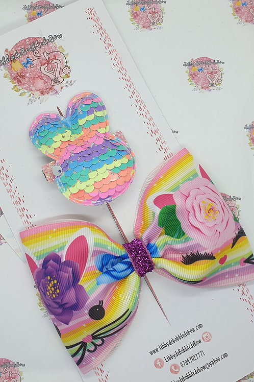 Floral Bunny - Tux Bow and Clip Set