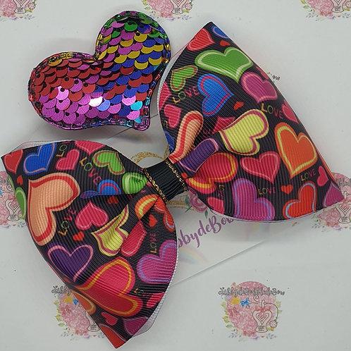 Multi Hearts - Tux Bow and Clip Set