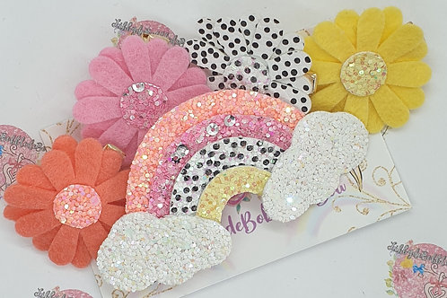 Rainbows, Flowers and Polka Dots - Fringe Clip