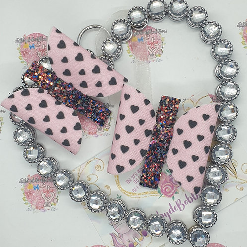Hearts and Glitter - Set of 2 Fringe Clips