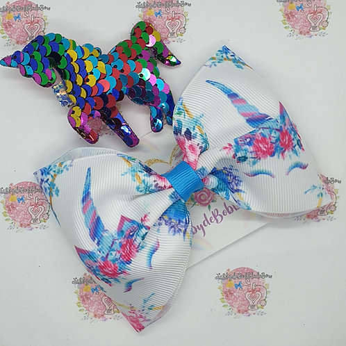 Unicorn Blue - Tux Bow and Clip Set