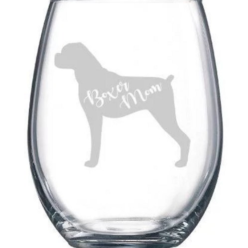 Engraved Boxer Mom Wine Glass