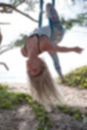 Instructor on a silk on the beach