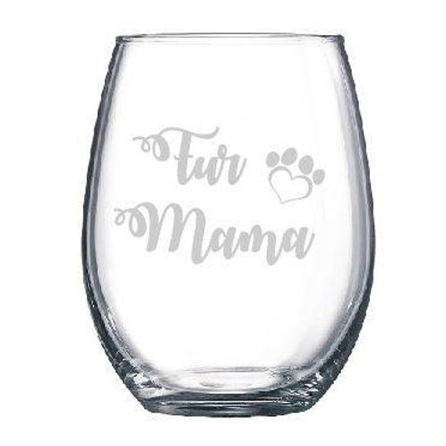 Engraved Fur Mama Wine Glass