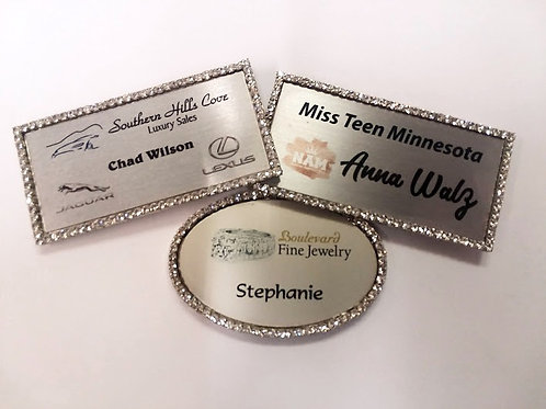 "1.5"" x 3"" Rhinestone Bling Name Badges"