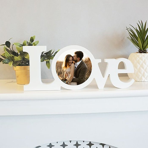White Wood Standing Love Block with Sublimated Insert