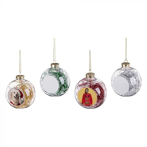Sublimated  Plastic Ball W Colored Decorative String 1-Sided Ornament