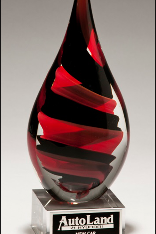 Black/Red Helix Flame Art Glass Award