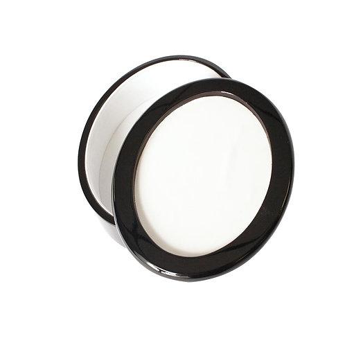 Black Lacquered Oval Box W/ Hardboard Tile.