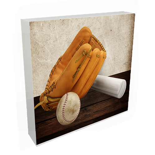 """White Wood Standing Block/Frame with Sublimated Insert 7.81"""""""