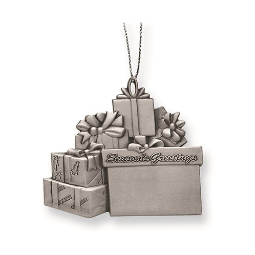 Engravable Pewter Presents 1-Sided Ornament
