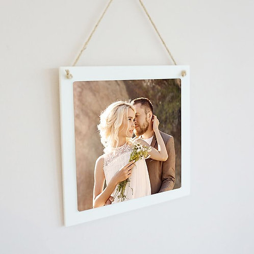 White Wood Hanging Square with Sublimated Insert