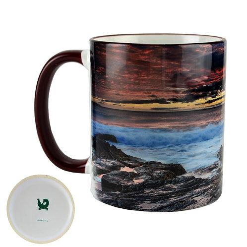 15oz. Color Rim & Handle  Deco Ceramic Mug