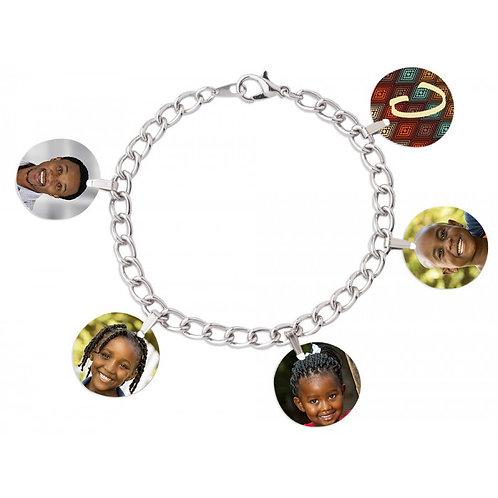 """7"""" Charm Photo Bracelet W/ 3/4"""" charms"""