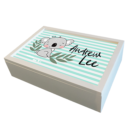White Wood Rectangle  Keepsake Box with Sublimated Insert