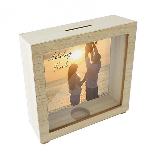 Wood Framed Standing Block Coin Bank with Sublimated Insert