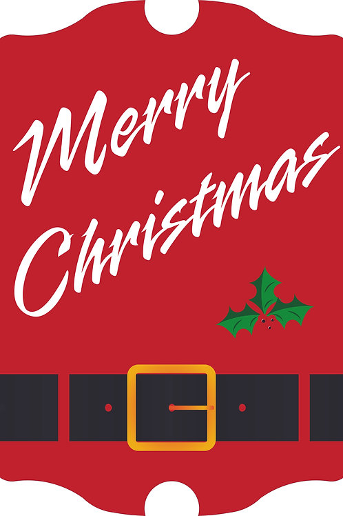 Merry Christmas Antique Style Hardboard Sign