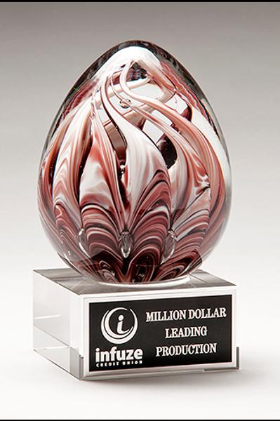 Burgundy & White Egg-Shaped Art Glass Award