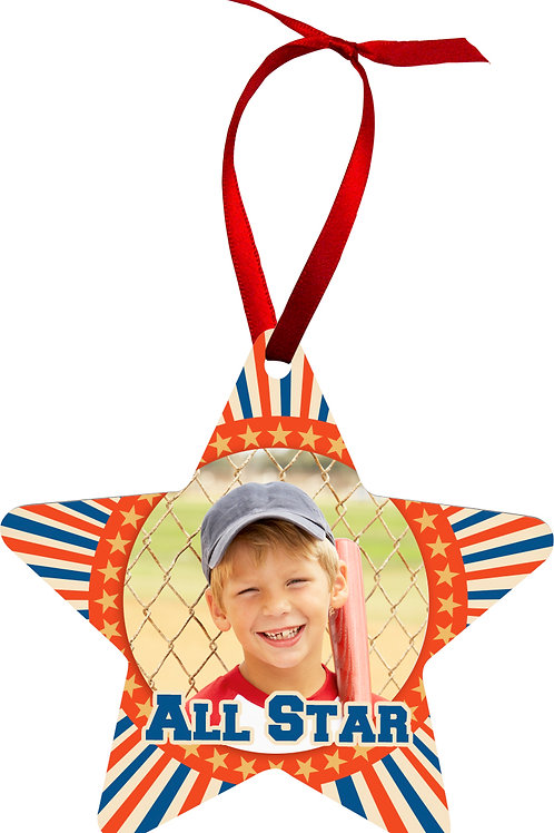Sublimated Star 2 Sided Aluminum Ornament