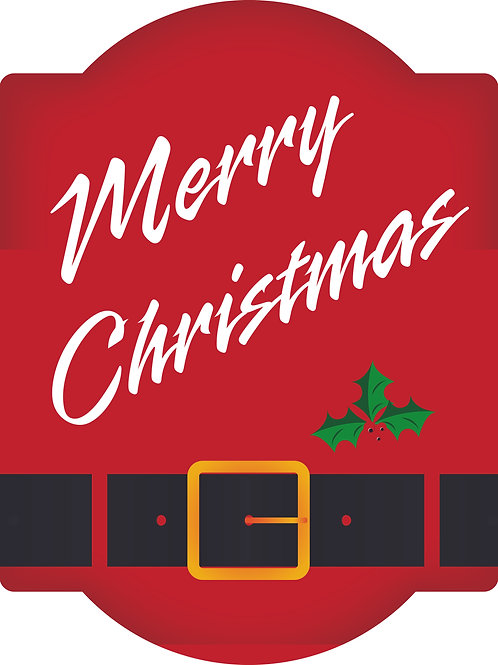 Merry Christmas Arched Style Hardboard Sign