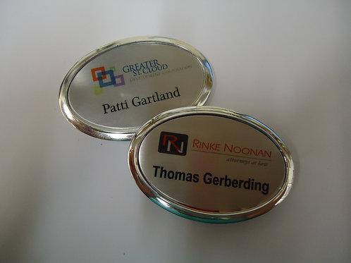 "1 7/8"" x 2 1/2"" Oval Framed Plastic Aluminum Name Badges"