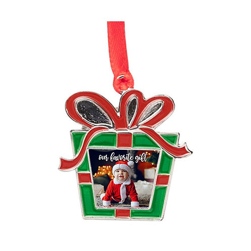 Sublimated  Metal Present 1-Sided Ornament