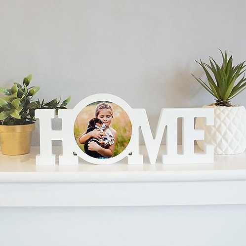 White Wood Standing Home Block with Sublimated Insert
