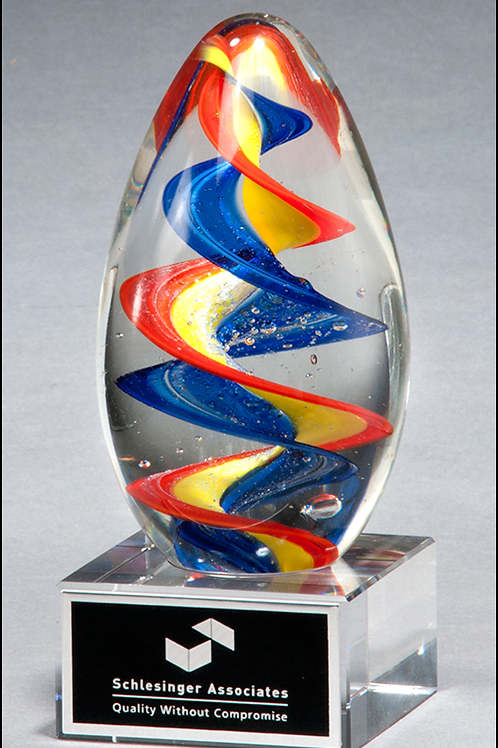 2 5/8 x 6 Colorful egg-shaped art glass award