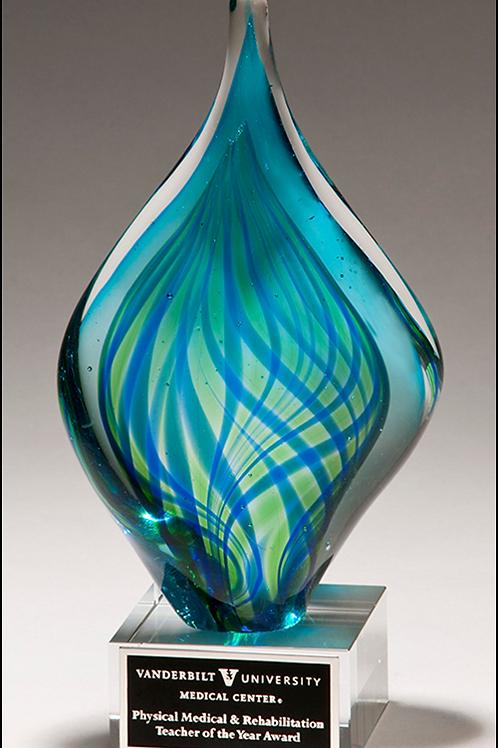 Blue/Green Twist Art Glass Award