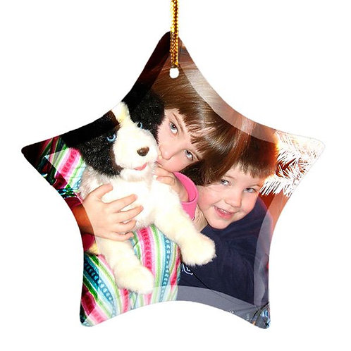 Sublimated  Glass Star 1-Sided Ornament