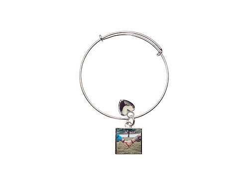 Square Circle Adjustable Photo Bracelet
