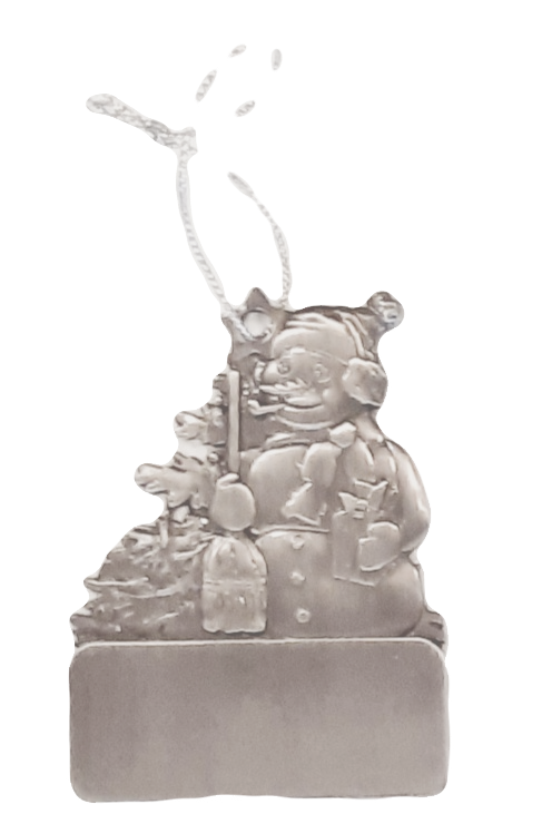 Engravable Pewter Snowman 1-Sided Ornament