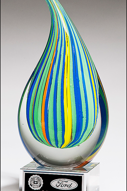 Multi-Colored Teardrop Art Glass Award