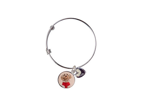 Circle Adjustable Photo Bracelet W Ball Stopper