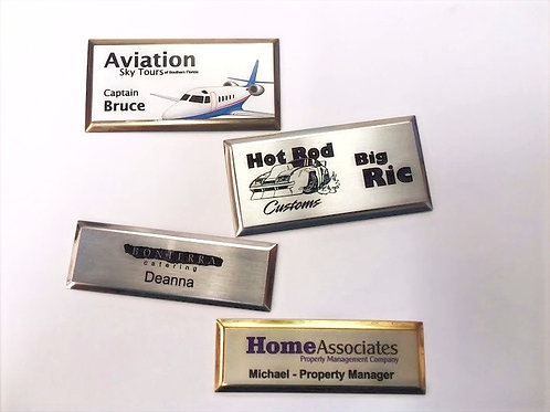 "1 1/2"" x 3"" Beveled Picture Frame Steel Name Badge"