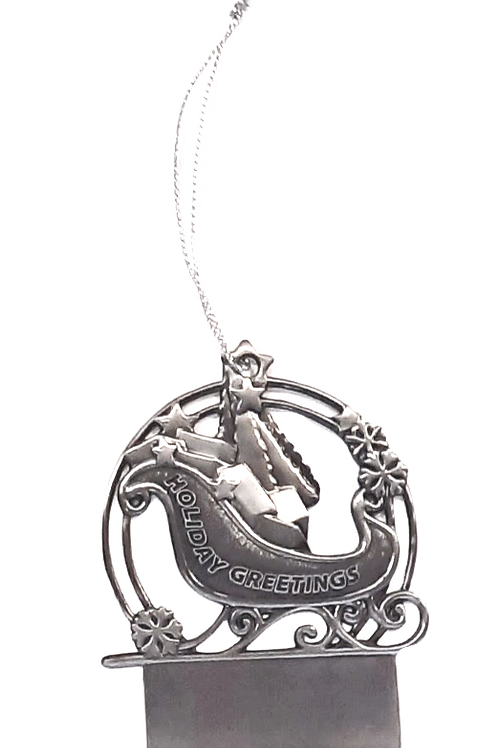 Engravable Pewter Sleigh 1-Sided Ornament