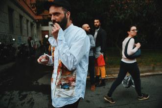 Street Style Garbagelapsap  Milan fashion week prada shirt