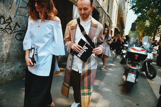Street Style Garbagelapsap fashion week Milan zegna coat