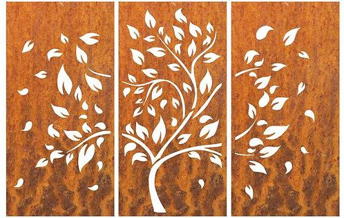 Sichtschutzwand 3-teilig Muster Baum