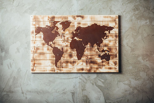 Weltkarte (Holzoptik)