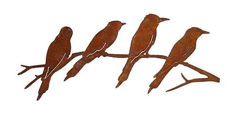 4 Vögel auf Ast Edelrost