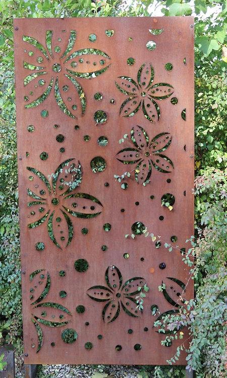 Sichtschutz Edelrost Blumen