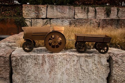 Traktor mit Blumentopf und Anhänger SET