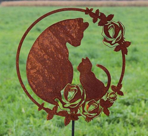 Gartenstecker/ Wandbild Katze mit Kitten