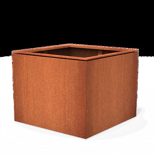 CORTEN-Blumenkübel quadratisch mit Rand