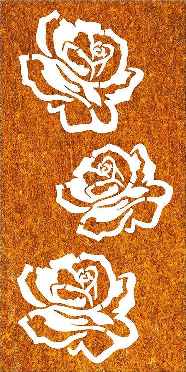 Sichtschutz Edelrost Rosenblüten
